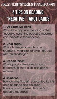 """Tarot Tips http://arcanemysteries.tumblr.com/ Four Tips On Reading """"Negative"""" Tarot Cards. #tarotcardstips"""