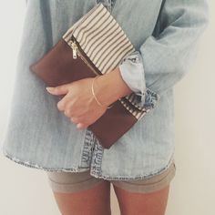 MAY 29, 2014 | OOTD #2014 #OOTD #SINCERELYCAROLINE Denim Button-Up - Goodwill / / Grey Shorts - Tommy Hilfiger / / Simple Gold Bangle - Bliss - Knoxville / / Stripe and Leather Clutch - Westward Made A casual day with my favorite handmade clutch by...