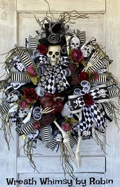 Halloween Skeleton Wreath, Fall Wreath, Halloween Decor, Skeleton Decor, Halloween Party, Mr Bones Wreath, Burgundy Black Halloween Halloween Wreaths, Halloween Prints, Halloween Skeletons, Halloween Design, Halloween Diy, Christmas Wreaths, Witch Wreath, Wreath Fall, Skeleton Decorations
