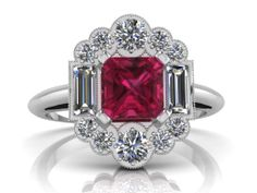Diamond and Pink Sapphire Art Deco Cluster Ring