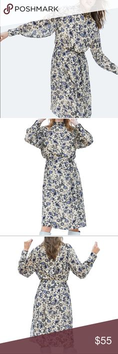 c5b0be30 NWT Zara White and Blue Floral Print Midi Dress Cream and blue floral  dress. Flowing