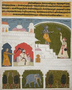 Kanhra Ragini, Third Wife of Dipak Raga, Folio from a Ragamala (Garland of Melodies). Opaque watercolor, gold, and ink on paper, India, Madhya Pradesh, Datia (?), ca. 1700-1730, LACMA Collections