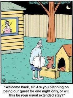 Husband In The Dog House funny comics marriage jokes humor marriage humor lol Haha Funny, Funny Shit, Funny Dogs, Hilarious, Funny Stuff, Funny Sarcasm, Funny Cartoons, Funny Comics, Adult Cartoons