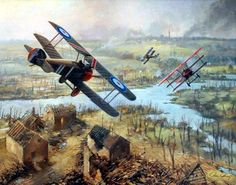 The Baron's Last Flight, by John Young (Roy Brown's Sopwith Camel chasing Manfred von Richthofen's Fokker Dr.I)