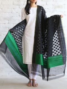 Black-Green Kora Silk Dupatta by Ekaya Indian Suits, Indian Attire, Indian Dresses, Indian Wear, Indian Clothes, Indian Style, Ethnic Fashion, Indian Fashion, Indian Costumes