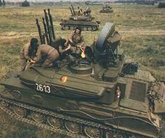 East German Shilka self-propelled anti-aircraft guns. Military Guns, Military Photos, Military Weapons, Military History, Military Vehicles, Self Propelled Artillery, Rda, Warsaw Pact, War Photography