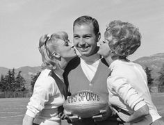 Packers quarterback Bart Starr was the NFL MVP in 1966 and one of the league's biggest stars. Here he is receiving birthday kisses from a pair of girls on Jan. 10, 1967 in Santa Barbara, California. Starr had turned 33 on Jan. 9, six days before he would lead Green Bay in the first Super Bowl.    DFS / ASSOCIATED PRESS
