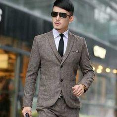 (jackets+vest+pants)2016 men boutique quality slim fit business suit three-piece suits/Male high-grade wool Blazers/jackets coat