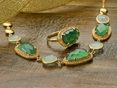 Feeling funky? Bold? Say it loudly with this Green Onyx and Chalcedony necklace and ring combo! St. Patrick's Day Jewelry
