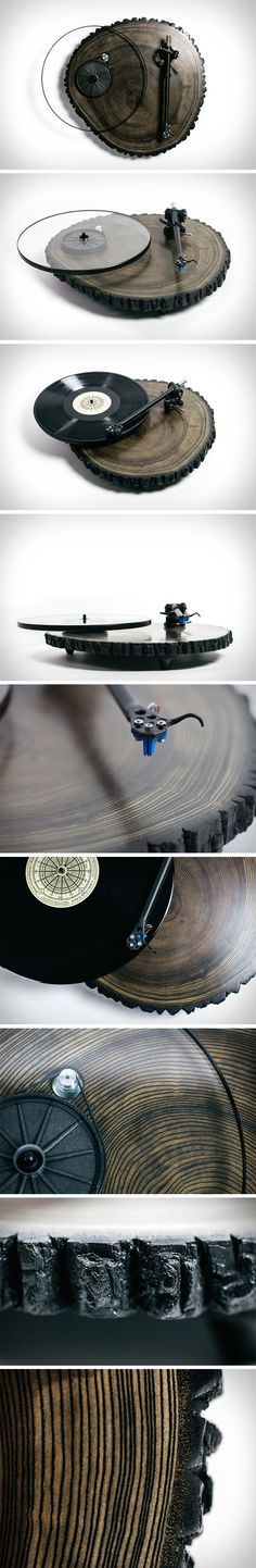 Echoing the vinyl disc's gentle concentric carvings, the Barky turntable's base has something similar, but something that has been around for millennia. A cross section of wood taken from an ash tree, the Barky's base has wooden age-lines that match perfectly with the shape and nature of vinyl, creating something that looks absolutely surreal as you begin to notice the biomimicry of sorts.
