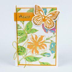 Yhdistele värikäs kuviopaperi raikkaaseen valkoiseen, saat tyylikkään lopputuloksen. Viimeistele kortti kultaisin yksityiskohdin. Diy, Bricolage, Do It Yourself, Homemade, Diys, Crafting