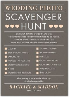Photo Hunt - Reception Activities in Ash or Rich B. Photo Hunt – Reception Activities in Ash or Rich Black Cute Wedding Ideas, Wedding Tips, Wedding Pictures, Our Wedding, Dream Wedding, Trendy Wedding, Wedding Venues, Different Wedding Ideas, Hunting Wedding