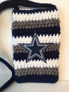 Galaxy S4 Phone Case - Dallas Cowboys Colors with Patch - free crochet pattern by Katerina Cohee.