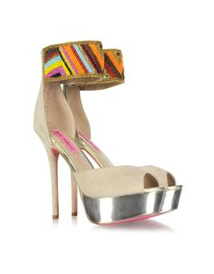 Betsey Johnson Ireen Embroidered Beige Suede Platform Sandal in Multicolor (beige) | Lyst