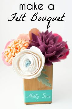 Make a felt flower bouquet with these tutorials for different felt flowers - from felt roses to felt ranunculus to a felt peony & felt dahlias (flower room decor paper dahlia) Felt Roses, Felt Flowers, Diy Flowers, Fabric Flowers, Paper Flowers, Paper Dahlia, Felt Diy, Felt Crafts, Fabric Crafts