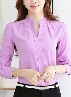 Cheap blous, Buy Quality shirt pink directly from China shirt sample Suppliers: 2017 Women Shirts Blouses Long Sleeve Stand Collar Elegant Ladies Chiffon Blouse Tops Fashion Office Work Wear Chemise Femme Casual Work Wear, Magazine Mode, Casual Tops, Shirt Blouses, Blouse Designs, Blouses For Women, Womens Fashion, How To Wear, Long Sleeve