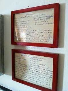 Great idea for kitchen decor. Blow up old index cards of recipes.
