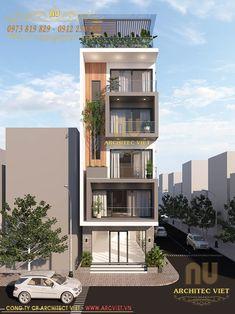 Nhà phố 5 tầng hiện đại Narrow House Designs, Modern Small House Design, Modern Exterior House Designs, Small House Exteriors, Modern House Facades, Dream House Exterior, 3 Storey House Design, Bungalow House Design, House Front Design