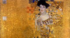 Przy wykonaniu Złotej Adeli (na zdj. fragm. obrazu) Gustav Klimt zastosował złoto i srebro w płatkach