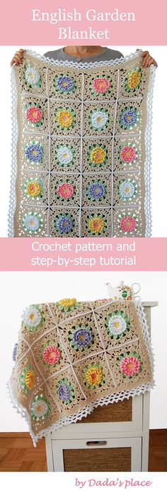 Beautiful and romantic, this English Garden crochet baby blanket is easy to make., Beautiful and romantic, this English Garden crochet baby blanket is easy to make with a beginner friendly crochet pattern and step-by-step tutorial. Baby Knitting Patterns, Crochet Rug Patterns, Crochet Motifs, Easy Patterns, Ravelry Crochet, Pattern Sewing, Crochet Afghans, Crochet Blankets, Crochet Baby Blanket Tutorial