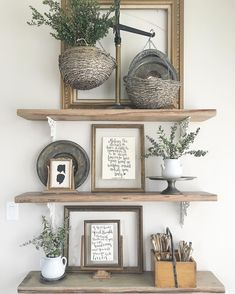 decorating open shelving for living or dining room