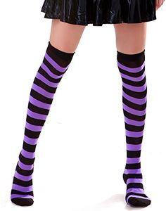 Opaque Stockings, Lady Stockings, Striped Stockings, Striped Thigh High Socks, Black Socks, Striped Socks, Sexy Socks, Purple Socks, Pantyhose Legs