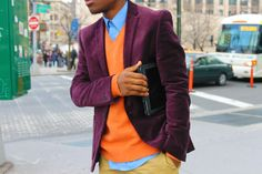 Color blocking. i like this [Count me in for some orange highlight, and damn that jacket is sweet.]