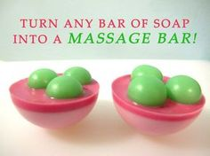 Turn any bar of soap into a massage bar! How, you ask?  You'll need this 9 ball moldfrom Bramble Berryand you'll need a base mold. I used the bottom part only of the4 Sphere Mold from Bramble Berry. But you can