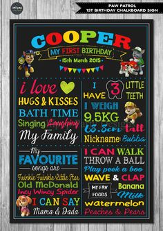 PAW PATROL 1ST FIRST BIRTHDAY CHALKBOARD SIGN BIRTHDAY PARTY PERSONALISED POSTER #Unbranded #BirthdayChild