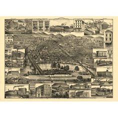 Historic Map of Reading Pennsylvania 1881 Berks County Canvas Art - (18 x 24)
