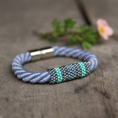 Blue gray rope bracelet magnetic clasp by Naryajewelry on Etsy