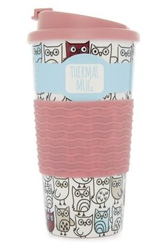Primark - Owl Print Thermal Mug Water Bottle Art, Cute Water Bottles, Cappuccino Cups, Coffee Cups, Hydro Flask Colors, School Locker Decorations, Thermal Mug, Blender Bottle, Cool Packaging