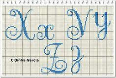 Crotchet Patterns, Stitch Patterns, Crochet Alphabet, Cross Stitch Letters, Needlepoint Stitches, Charts And Graphs, Alphabet And Numbers, Crochet Chart, Cross Stitch Embroidery