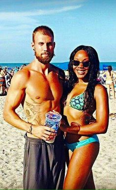 Gorgeous interracial couple hanging out at the beach #love #wmbw #bwwm ♡ Happy Loving Day!