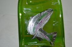 Hand Painted Fish Salmon Trout Green Glass Wine by oldcargirl, $29.00