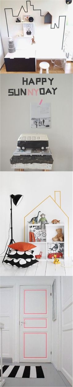 Use masking tape to decorate the kids room
