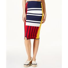 Tommyxgigi Colorblocked Patchwork Skirt ($150) ❤ liked on Polyvore featuring skirts, white skirt, white knee length skirt, block print skirts, tommy hilfiger skirts and colorblock skirts