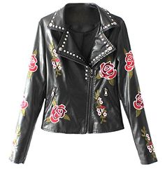 Tootless Womens zip Lapel Faux Leather Floral Embroidery Moto Biker Jacket Black S