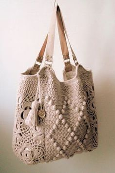 """New Cheap Bags. The location where building and construction meets style, beaded crochet is the act of using beads to decorate crocheted products. """"Crochet"""" is derived fro Crochet Diy, Crochet Tote, Crochet Handbags, Crochet Purses, Love Crochet, Crochet Crafts, Crochet Shell Stitch, Crochet Stitches, Pinterest Crochet"""