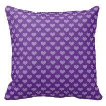 Light Purple Hearts on Darker Purple Throw Pillow