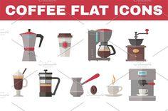 Coffee Flat Icons by serkorkin on @creativemarket