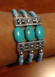 Memory wire bracelet with Turquoise and Czech beads, spacer bar