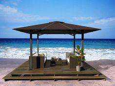 Awesome Gazebo Canopy Decors View Sea With Rattan Chair Cover On The Brown Wooden Floor And