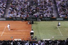 Nadal vs Federer, in half clay half grass court.