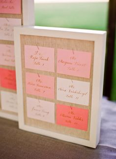Different colors, but gorgeous escort card display with sized stable frames