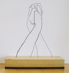 Hands Clasped | Gavin Worth ( Steel Wire Sculptures ) | www.gavinworth.com/