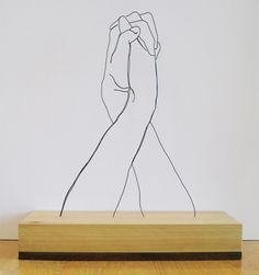 Hands Clasped | Gavin Worth ( Steel Wire Sculptures ) | www.gavinworth.com/