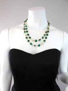 DESIGNER Emerald Crystal and Pearl Sautoir