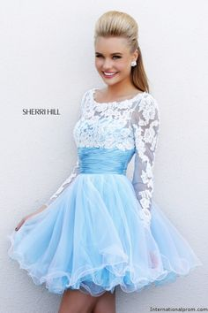 LOVE the top...the skirt needs to be longer.  Elegant lace sleeve Sherri Hill 21234 #ipaprom