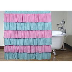 Pink and Blue Polka Dot Ruffled Shower Curtain - Overstock™ Shopping - Great Deals on Cottage Home Shower Curtains